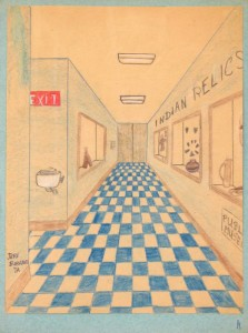 Childhood drawing by Jeri Griffith of an imaginary scene inside a museum