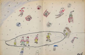Winter Scene is shown, a childhood drawing by Jeri Griffith to illustrate her blog.